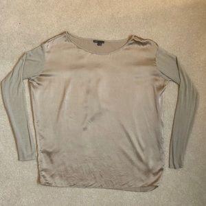 VINCE Beige Silk w/ Knit Slvs Top